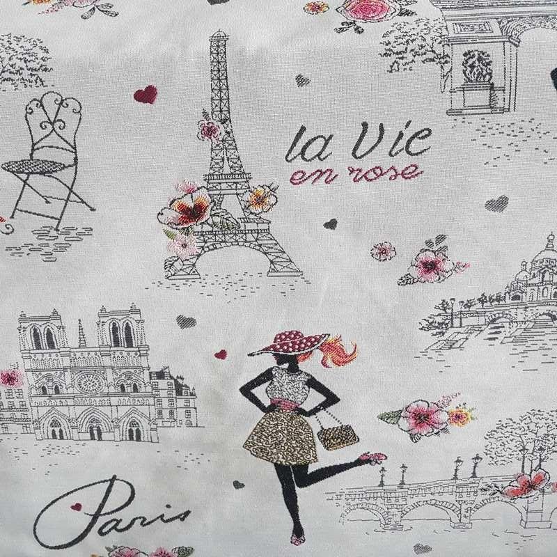 tissu paris jacquard ameublement la vie en rose la parisienne