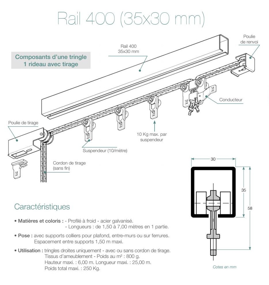 tringle rail 400 avec cordon de tirage 1 ou 2 rideaux au ml