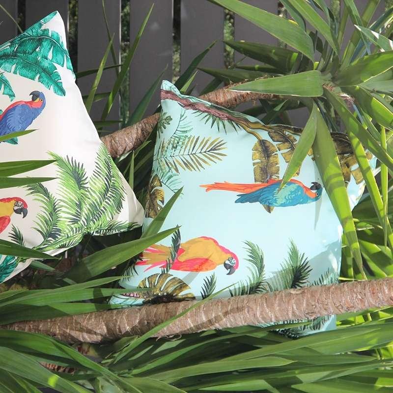 housse de coussin perroquets vert d eau