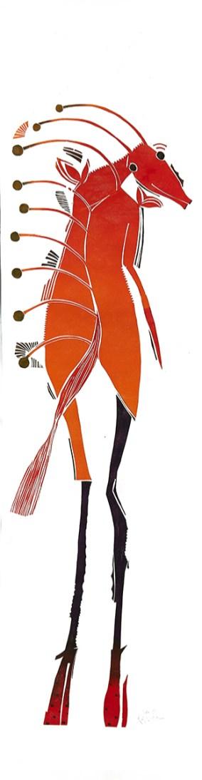 Serie Empfangskomitee, 2014, Holzschnitt, 60 x 250 cm
