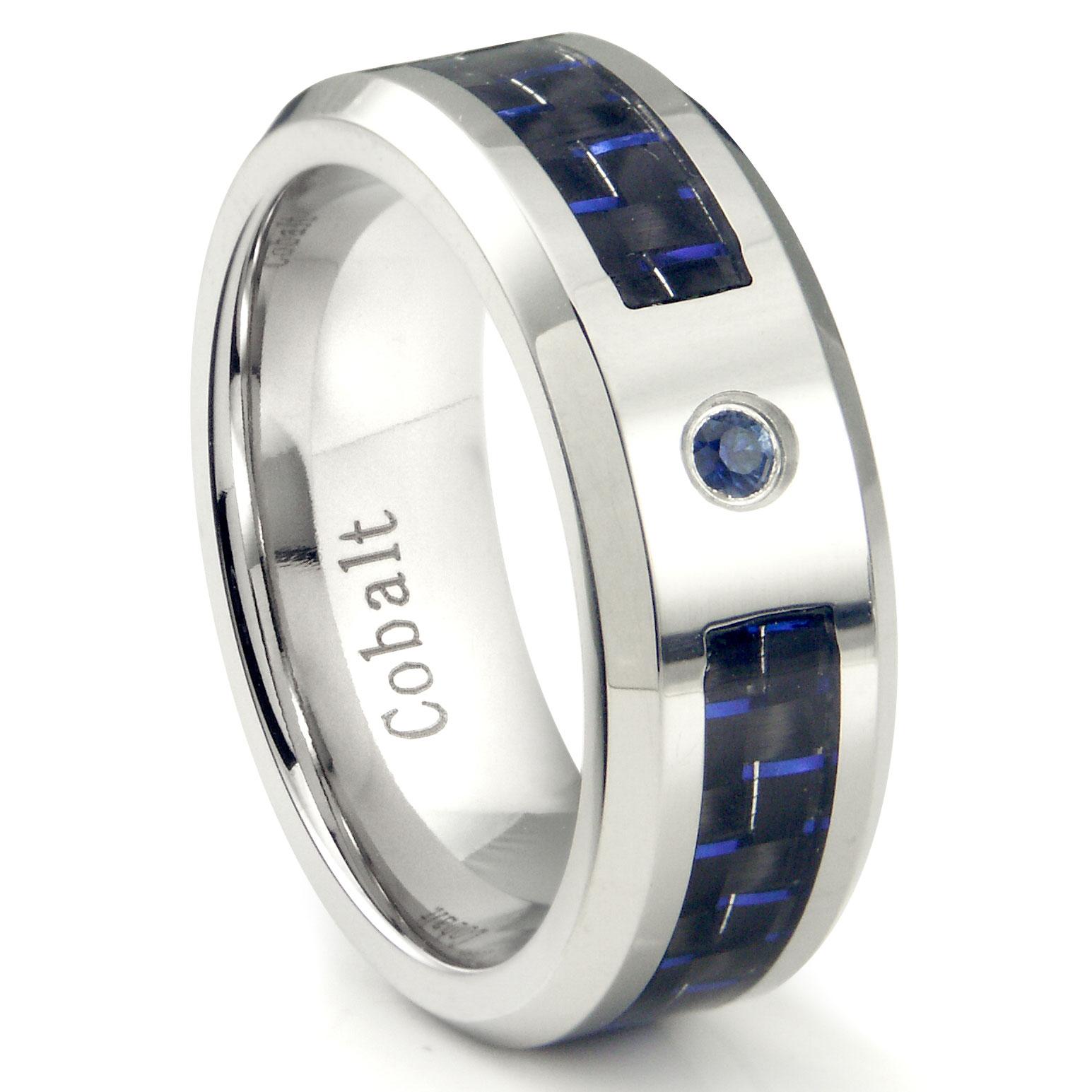 Cobalt Chrome 8MM Blue Sapphire Amp Blue Carbon Fiber Inlay