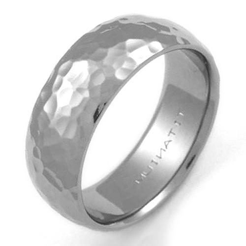 Ballard Titanium Ring With Hammered Finish Titanium