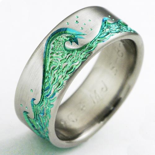 Eastbourne 1 B Titanium Ring With Waves Titanium Wedding