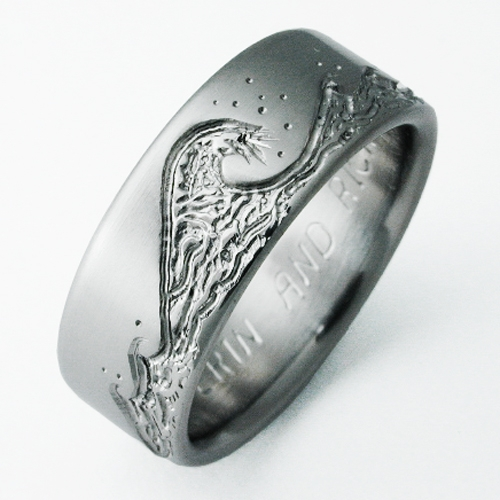 Eastbourne 3 Titanium Ring With Waves Titanium Wedding