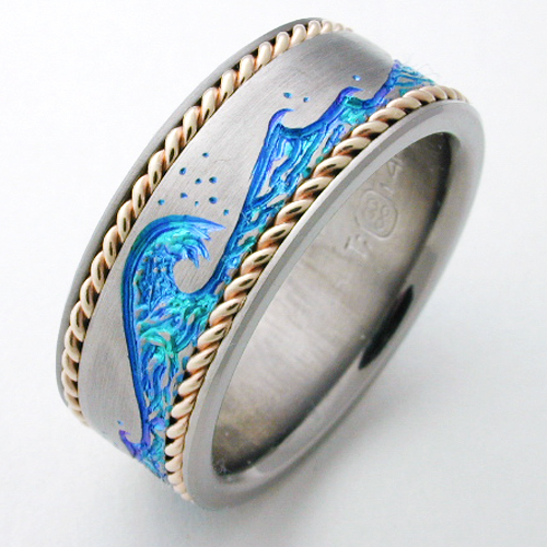 Easton 1 Titanium Ring With Gold Titanium Wedding Rings