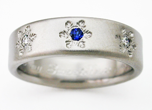 Estes 2 Titanium Ring With Snowflakes Titanium Wedding