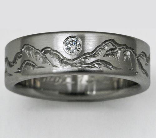 Montana 3 Titanium Ring With Mountains Titanium Wedding