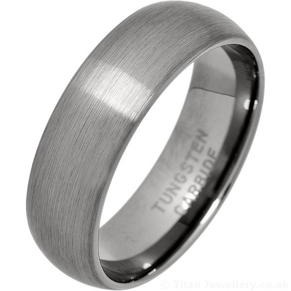 Mens 7mm Brushed Tungsten Carbide Wedding Ring