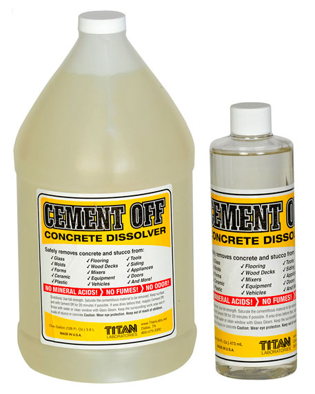 Cement Off Concrete Dissolver in the gallon and pint sizes.