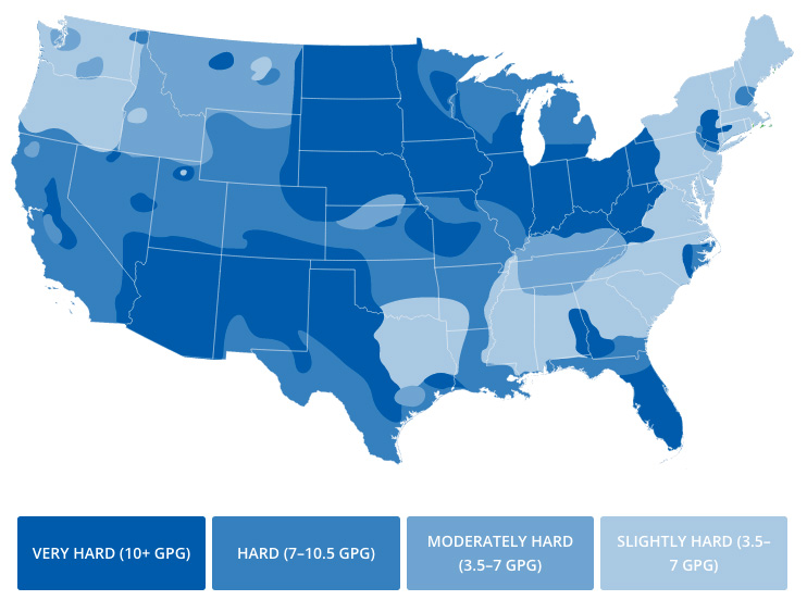 U.S.A map showing water hardness or softness by region
