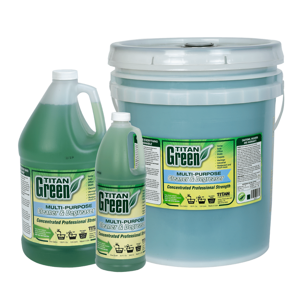 Titan Green Multipurpose Cleaner. Concentrated and can make up to 75 gallons of solution. Visit www.TitanLabs.net or call +1 800-475-3300 to learn more.