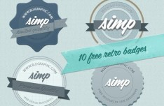 10 Blue Retro Badges Layered PSD