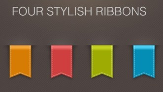 4 Colorful Ribbons with 3D Look and Feel