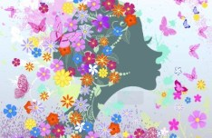 Abstract Butterfly Girl Vector Design 04