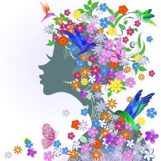 Abstract Butterfly Girl Vector Design 05