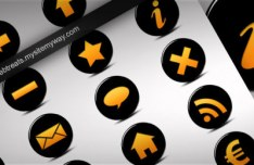Black and Orange Glass Icons PSD