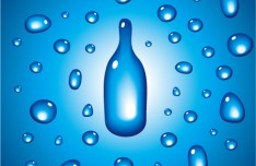 Blue Bottle and Water Background Vector