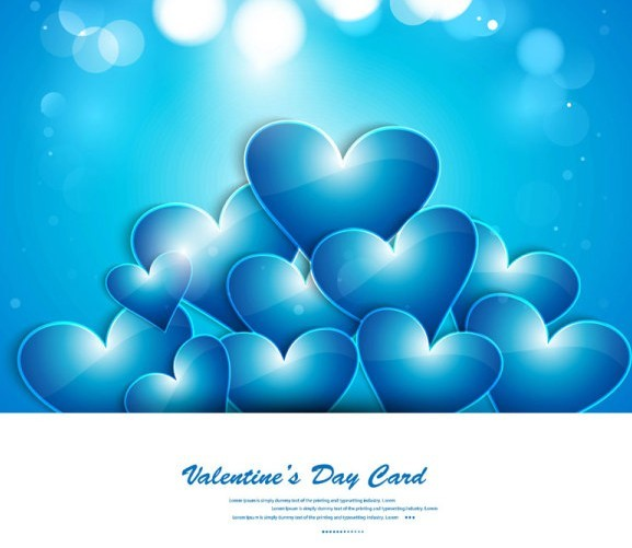 Blue Valentine's Day Heart Card
