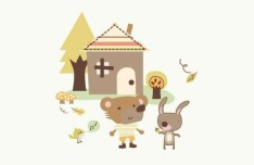 Cartoon Bear and Rabbit Vector Illustration