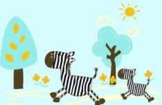 Cartoon Zebra Vector Illustration