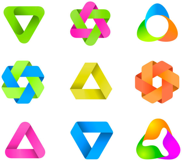 Colored Recycling Symbol Vector