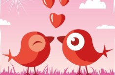 Cute Cartoon Birds Vector For Valentine's Day