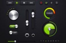 Dark Audio Player GUI Elements PSD