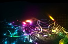 Dark Vector Background with Creative Musical Scores