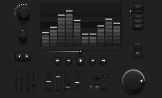 Dark media UI Kit
