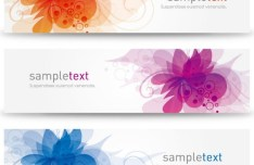 Elegant & Clean Vector Banner with Colored Flowers