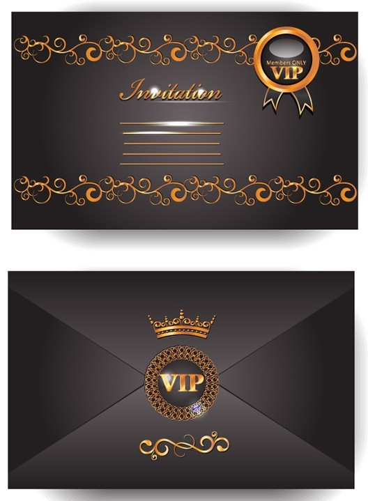 Elegant Golden Border VIP Card Vector 01