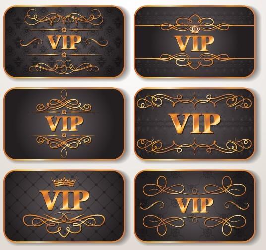 Elegant Golden Border VIP Card Vector 03