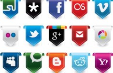 Elegant Social Media Icon Badges Vector