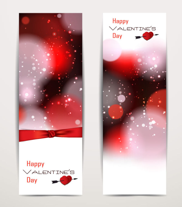 Exquisite Vertical Valentine's Day Banner Vector 01