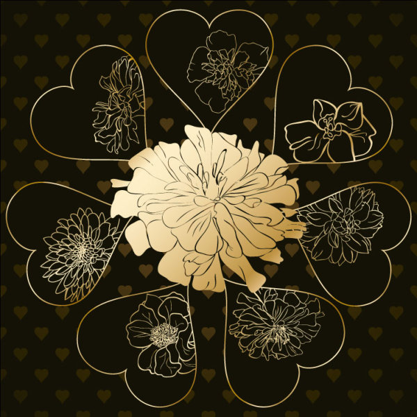 Golden Heart-shaped Pattern Background