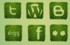 Grass Textured Social Icons