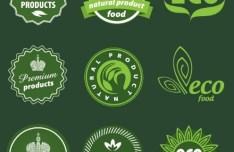 Green Natural Food Badges Vector