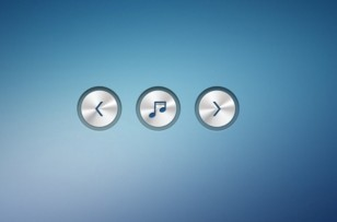 Metallic Music Player Control Buttons