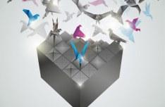 Origami Box Vector Background