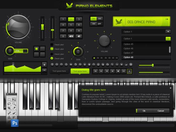 Piano Website UI Elements
