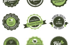 Premium Organic Product Badges Vector