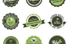 Premium Organic Product Badges Vector