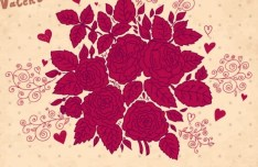 Retro Valentine's Day Florals Vector 02