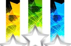 Set of Stylish Vector Banner with Five-pointed Stars