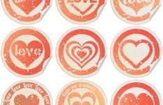 Valentine's Day Round Labels Vector 2