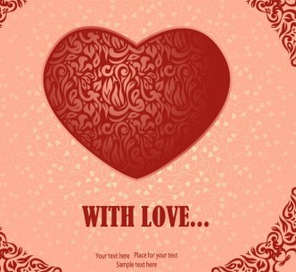 Vector Red Heart-Shaped Card Background