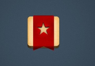 Wooden APP Icons with Red Ribbon