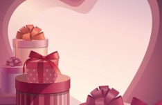 Pink Valentine's Day Gifts Vector 02