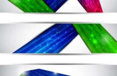 Set of Vector Banners with Colored Ribbons