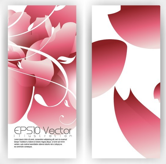 Vector Stylish Vertical Card with Flowers Background 01